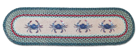Blue Crab Braided Rug Runner