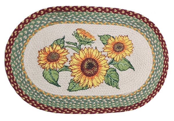 Sunflowers Braided Rug Oval Scarbrough Faire