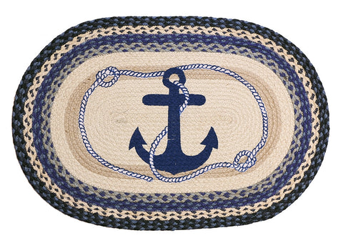 Blue Navy Anchor Braided Rug Oval