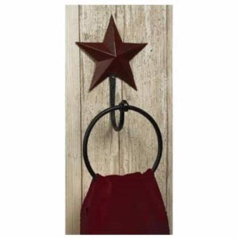 Barn Star Towel Ring Burgundy Star
