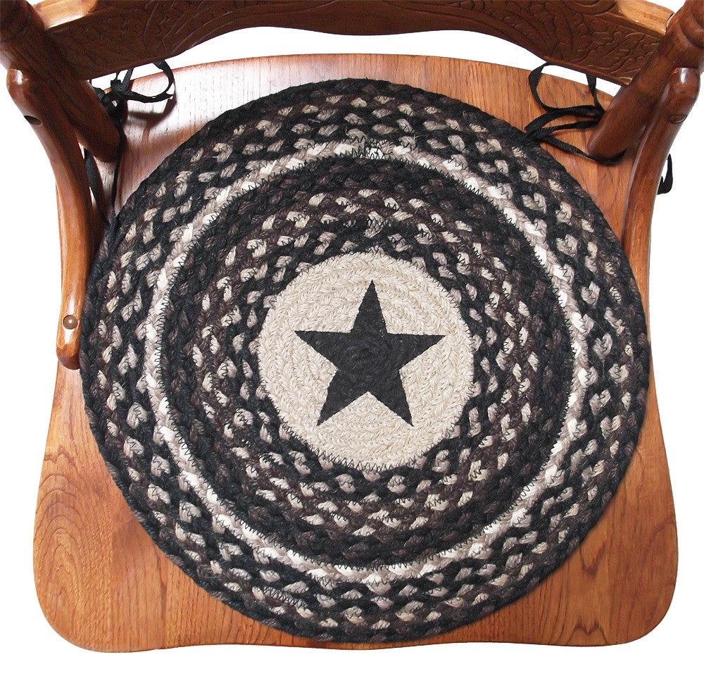 Braided chair pads rustic black star primitive decor country dining room pad