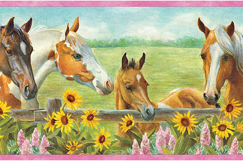 Horses and Flowers Wallpaper Border GU92073B