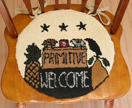 Hooked Chair Pad Primitive Welcome Crow Sheep Stars
