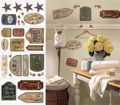 Country Laundry Bath Signs peel and stick decals, wall decor stickers