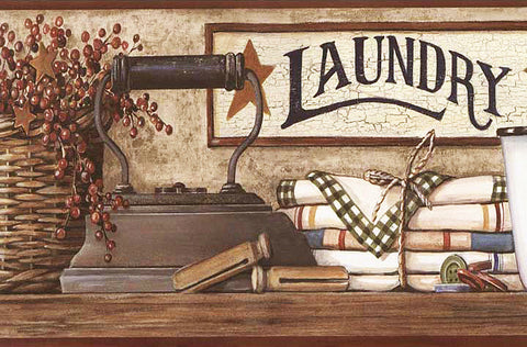 Country Laundry Shelf Wallpaper Border HK4633BD
