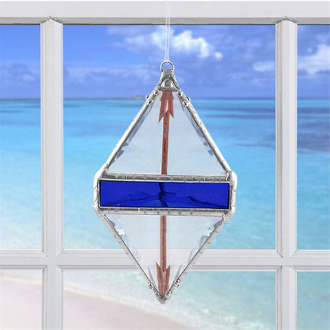 Rainbow Water Prism Double Pyramid Cobalt Blue