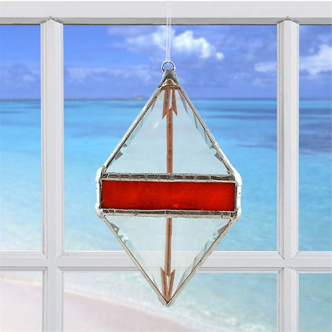 Rainbow Water Prism Double Pyramid Red