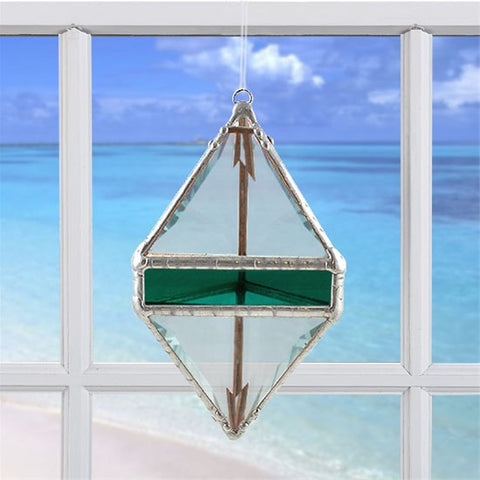 Rainbow Water Prism Double Pyramid Teal Green
