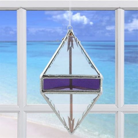 Rainbow Water Prism Double Pyramid Purple