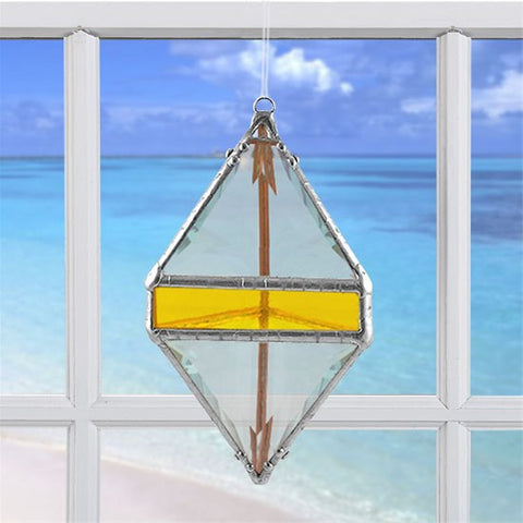 Rainbow Water Prism Double Pyramid Yellow