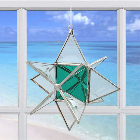 Wishing Star Teal Green | Glass Suncatcher