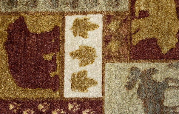 Studio Carved Moose and Bear Rug, rectangle cabin rug lodge decor ON SALE!