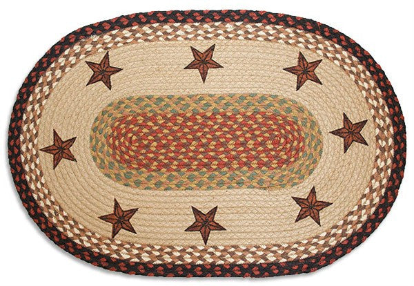 Barn Star Braided Rug Oval