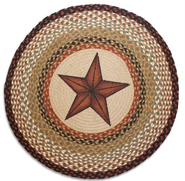 Barn Star Braided Rug Round