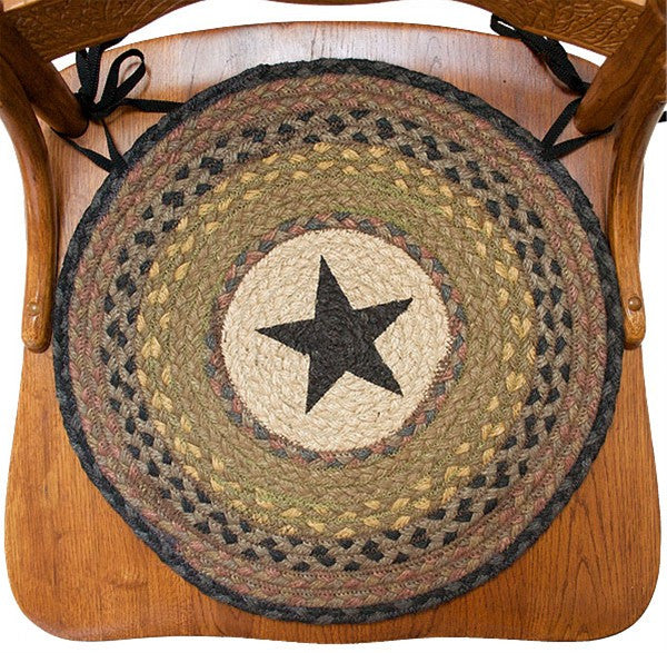 Braided Chair Pads Black Star