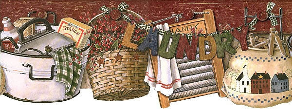 Laundry Day Wallpaper Border RF3593BD Country Primitive