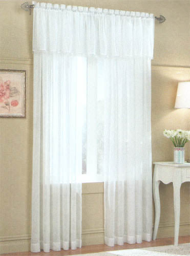 White Crushed Voile Window Curtains Allure Set of 2 Panels
