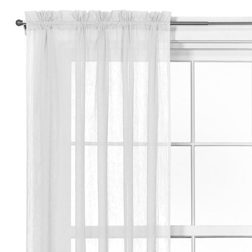 White Crushed Voile Window Curtains Allure