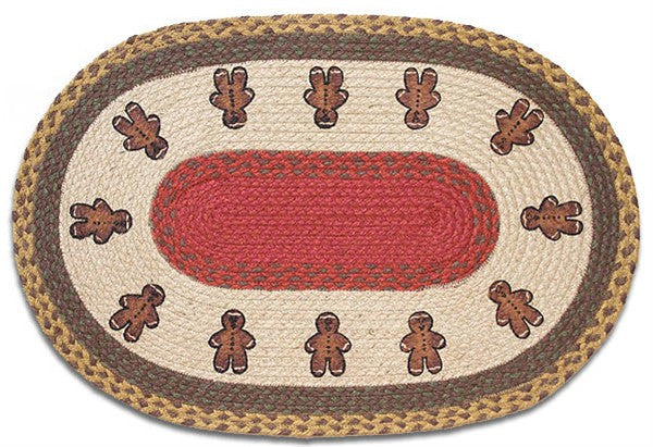 Gingerbread Men Braided Rug Oval
