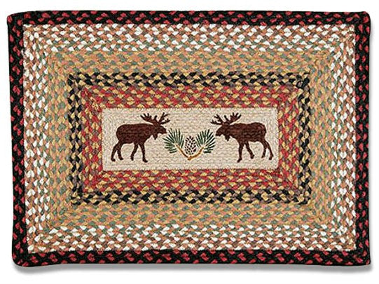 Moose Braided Rug Rectangle
