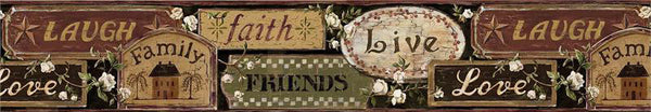 Live Love Laugh Wallpaper Border, FFR65402B Country Primitive Signs Border
