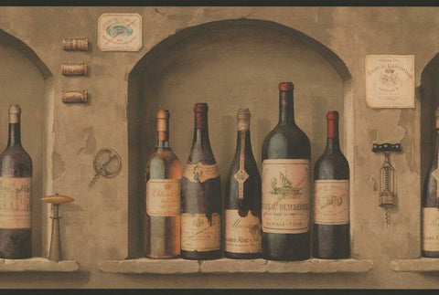 Wine Bottles Wallpaper Border NV9652B