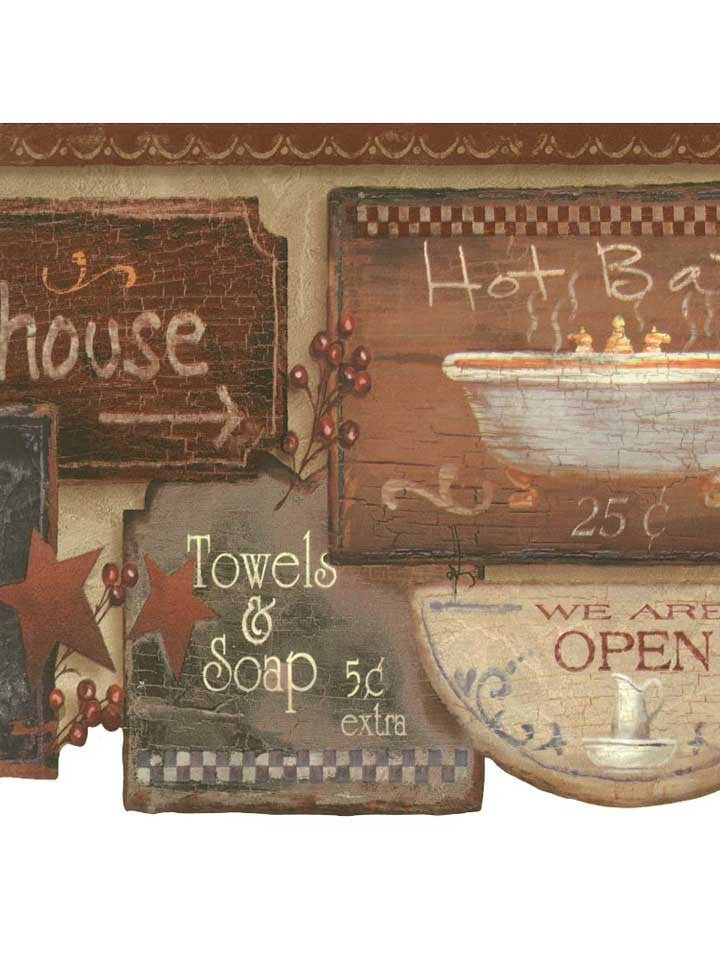 Rustic Bath Signs Wallpaper Border  JN1848B