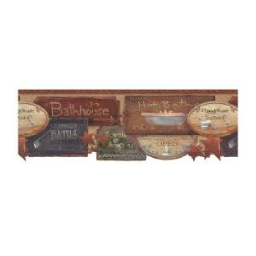 Rustic Bath Signs Wallpaper Border JN1848B country bathroom