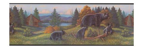 Black Bear Lodge Wallpaper Border WL5627B