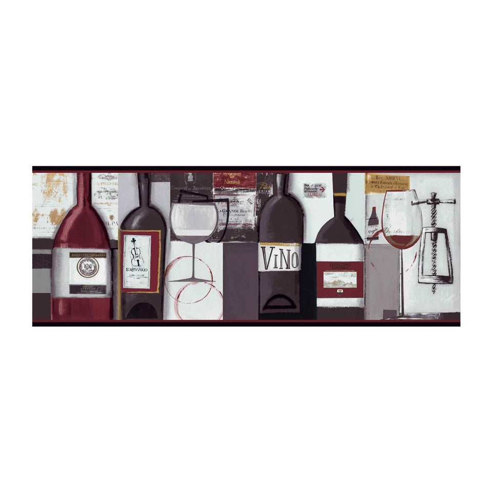 Contemporary Wine Wallpaper Border Bg1682bd Wine Bottle Kitchen