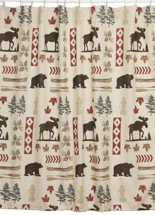 Beau North Country Shower Curtain (Moose And Bear Shower Curtain) Lodge Decor