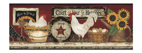 Country Rooster Shelf Wallpaper Border CB5538BD