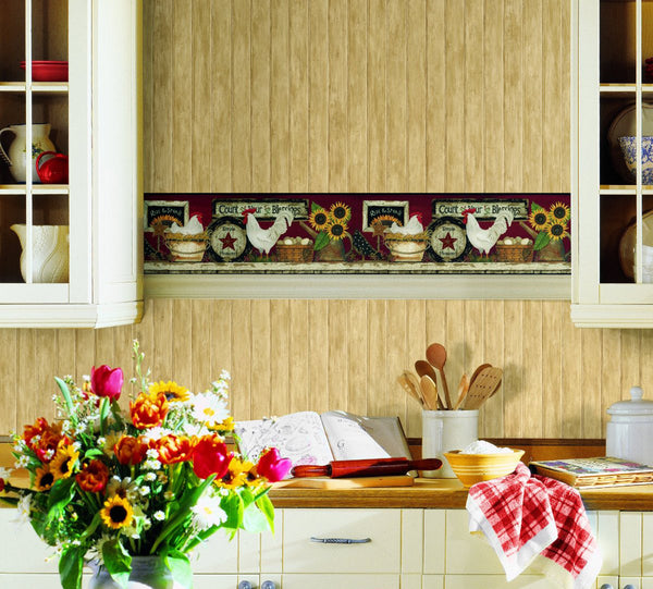 Country Rooster Shelf Wallpaper Border, chicken CB5538BD sunflowers