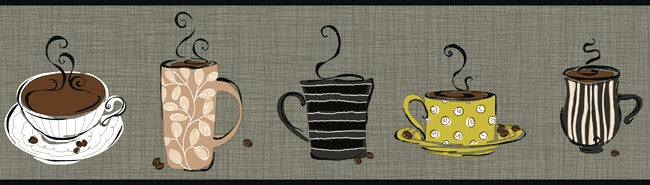 Modern Coffee Wallpaper Border KB8503B