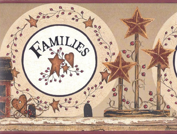Families Are Forever Wallpaper Border, BG1618BD Country Barn Stars Berries