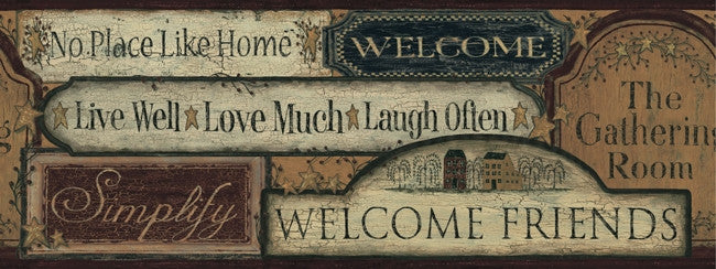 Primitive Welcome Signs Wallpaper Border CT1918BD