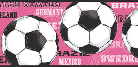 Girls Soccer Ball Wallpaper Border JE3737BD