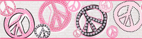 Girls Peace Sign Wallpaper Border JE3511B