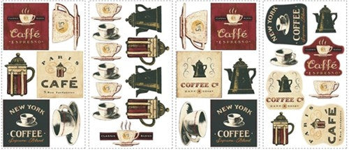 Cafe Coffee Wall Stickers, peel and stick decals
