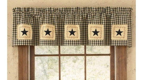 Black Star Patch Curtain Valance