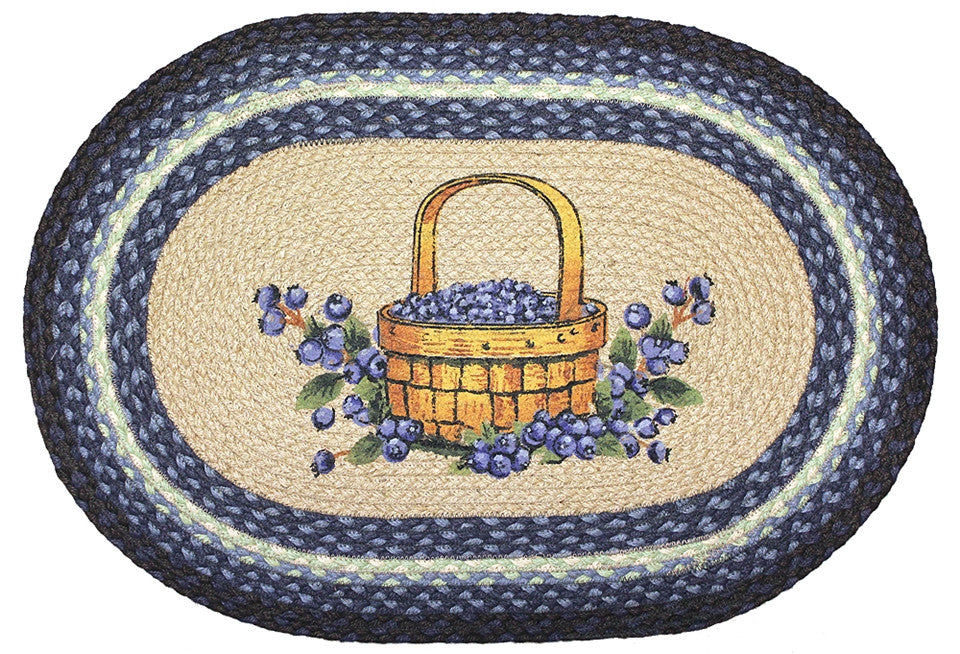 Blueberry Basket Braided Rug Oval