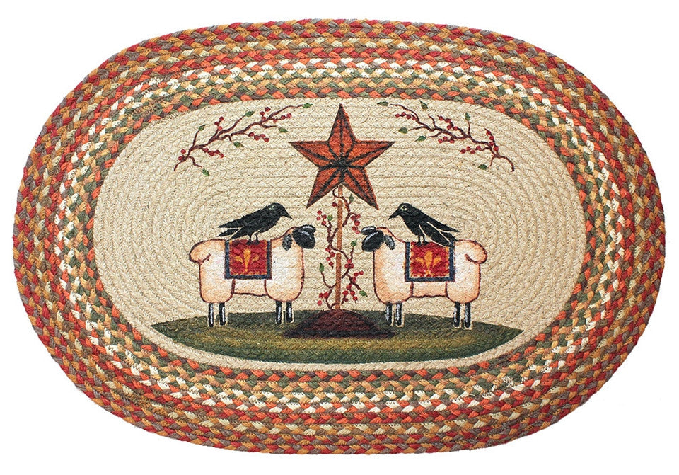 Crows and Sheep Braided Rug Oval