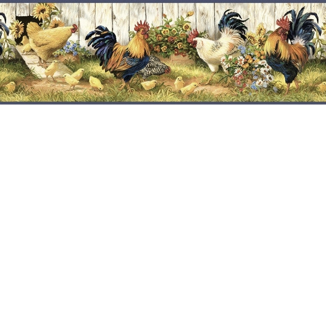 Rooster And Sunflowers Wallpaper Border Fam24511b Chick