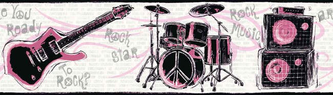 Girls Rock Band Wallpaper Border JE3639B