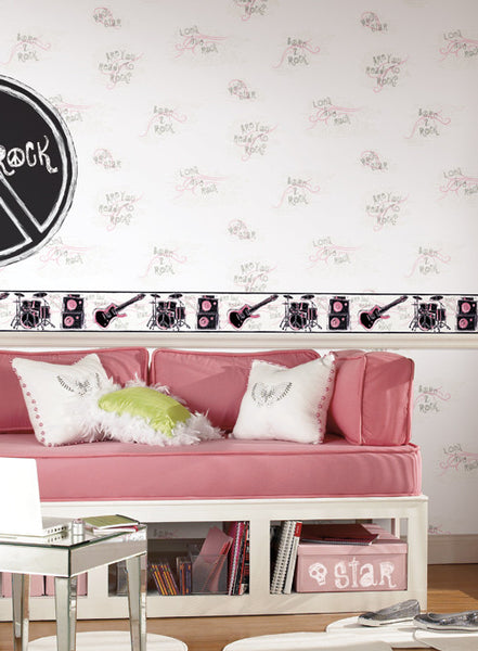 Girls Rock Band Wallpaper Border, JE3639B music star pink guitar