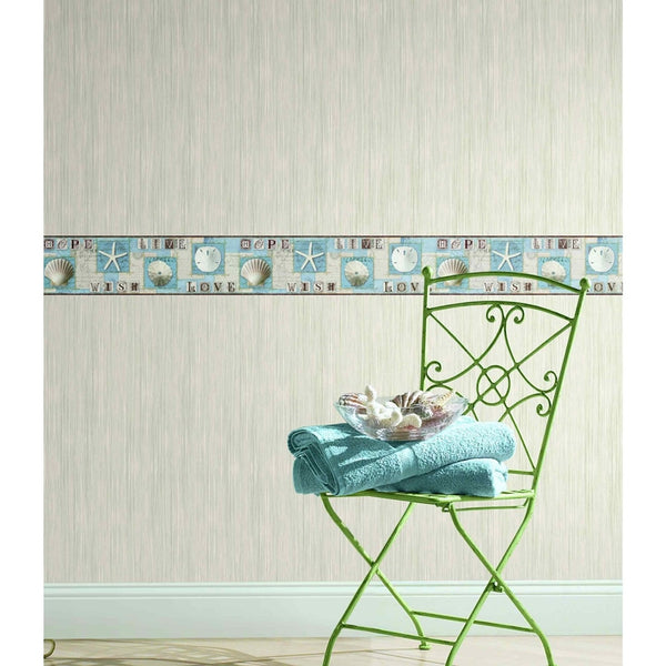Starfish and Seashells Wallpaper Border, aqua beach nautical decor BG1641BD
