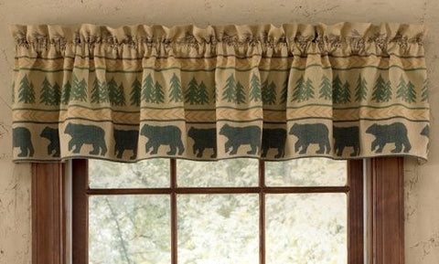 Bear and Pine Curtain Valance