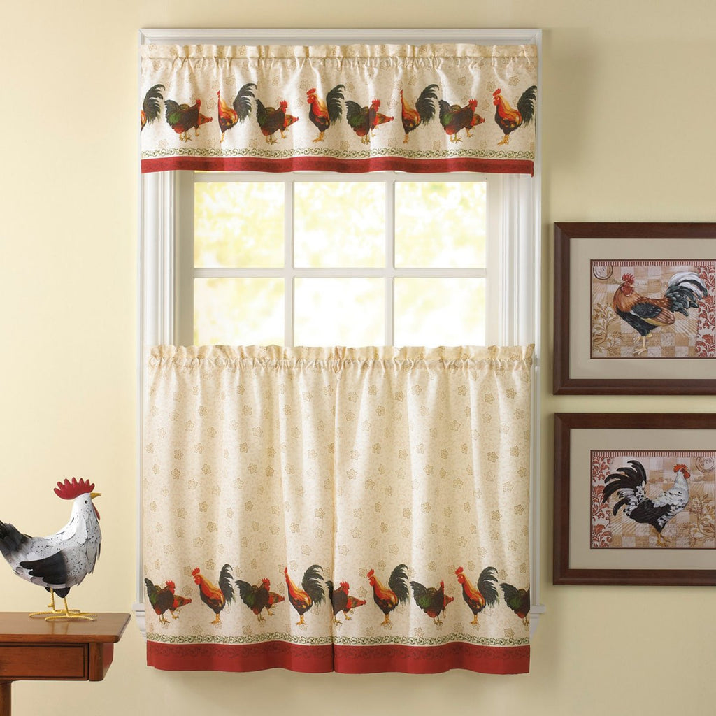 Farm Rooster Window Curtain Set Kitchen Valance