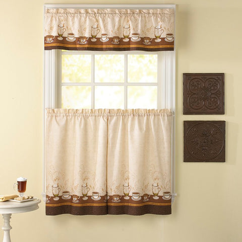 Cafe Coffee Window Curtain Set Kitchen Valance