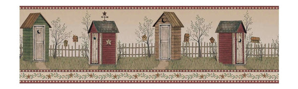 Outhouse Wallpaper Border BG1621BD, Primitive Country Bath Decor